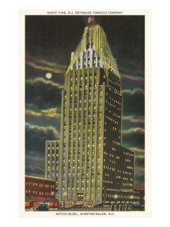 Moon over Reynolds Building, Winston Salem, North Carolina Poster