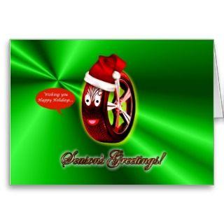 Happy Holidays Christmas tyre santa hat Greeting Card