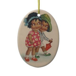 Black Americana Kids Christmas Ornaments