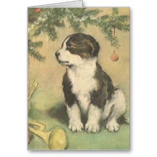 Vintage Christmas, Cute Puppy Under Christmas Tree Card