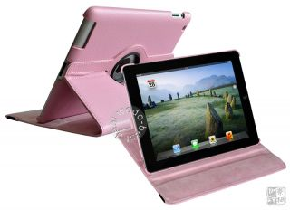 Pink Smart Rotating Stand Leather Carry Case Cover for iPad 2 & iPad 3