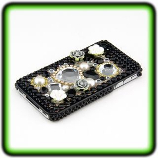 IPHONE 4 4S STRASS LOOK HARD CASE 3D Cover Bumper Hülle Luxus Bling