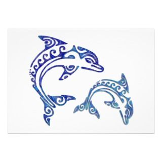 Tribal Tattoo Porpoise Duo Personalized Invites