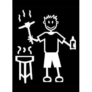 My Stick Figure Family Autoaufkleber Aufkleber Vater Grill BBQ und