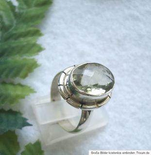 ausgefallener Ring mit einem facettierten Prasiolith ( grüner