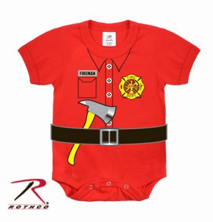FIREMAN UNIFORM Kids Funny Firefighter Children Red One Piece Bodysuit