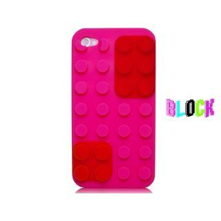 iPhone 4S / 4 Block Lego DIY Pink/ Rosa Soft Silikon Case mit Red/ Rot