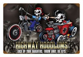 Lethal Threat Highway Hoodlums Chopper Hot Rod V8 Retro Sign