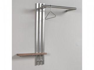 Wandgarderobe Edelstahl mit Nussbaum Spinder Design Nero 4 SALE