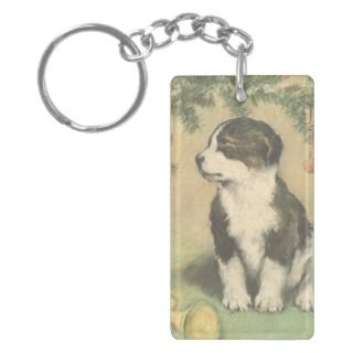 Vintage Christmas, Cute Puppy Under Christmas Tree Acrylic Keychains