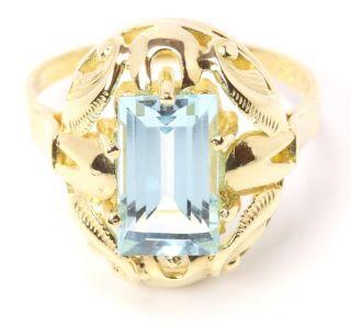 9kt 375 Blautopas Damen Gold Ring Blau Topas Topasring Damenring