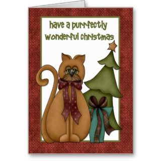 whimsical christmas card with cat and christmas tree with polka dot