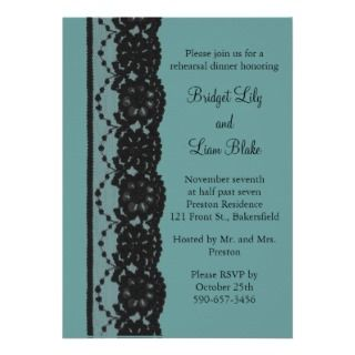 Teal French Lace Rehearsal Dinner Custom Invite