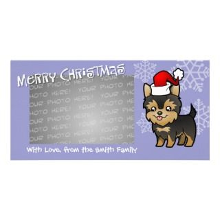 Christmas Yorkie (puppy with bow) photo cards by SugarVsSpice