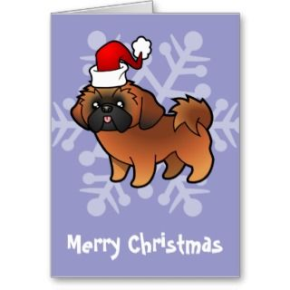 Christmas Shih Tzu (red puppy cut) cards by SugarVsSpice