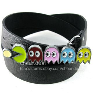 Game Pac Man Video Funny Buckle Genuine Leather Belt