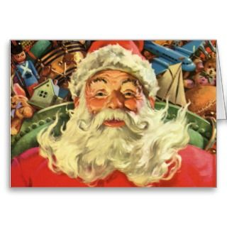 Vintage Christmas, Santa Claus Flying Sleigh Toys Cards