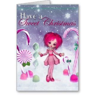 Have a Swee Chrismas  Pink Cookie Poser Girl Greeing Card