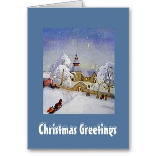 Vintage Christmas Village Church Scene Card