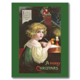 Writing a Letter to Santa Vintage Christmas Postcard