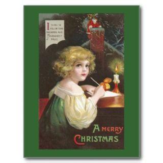 Writing a Letter to Santa Vintage Christmas Postcard