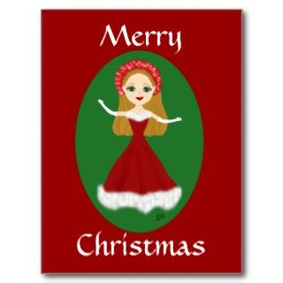 Christmas Princess in Red Evening Gown Post Card