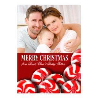 Peppermint Candy Merry Christmas Family Photo Custom Invites