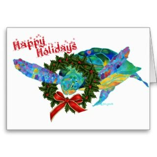 Christmas Sea Turtle Greeting Cards