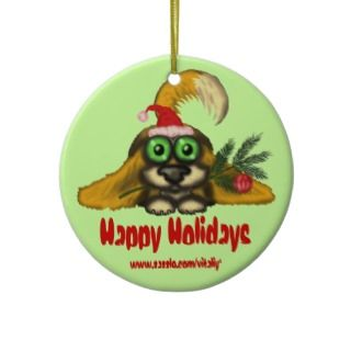 Funny cute Santa dog Christmas tree ornament