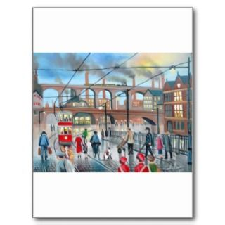 Old Stockport viaduct train oil painting postcards by gordonbruce