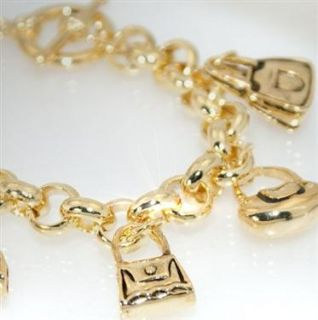 A393 Neu Luxus Bettelarmband Tasche Bag Armband Gold Schmuck Damen