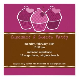 Cupcakes & Sweets Party Invitations