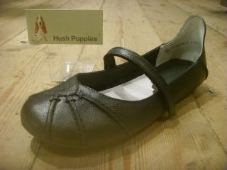 Hush Puppies Esmeralda Black Leather Janessa Style Flat Velcro Bar