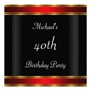 Mens 40th birthday Party Black Red Art Deco Invite