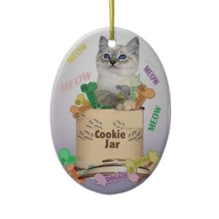 ragdoll Kitten in cookie jar Christmas Tree Ornaments