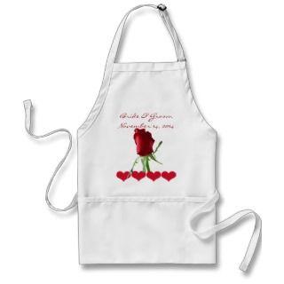 Red Rose Wedding Aprons
