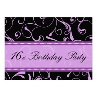 Purple Swirl 16th Birthday Party Invitation Cards invitations by