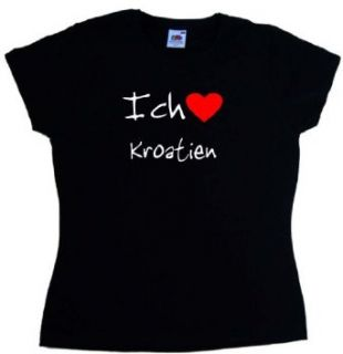Ich Liebe Kroatien Damen T Shirt, Schwarz Bekleidung