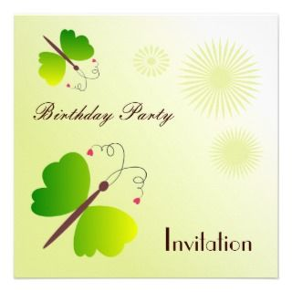 Butterflies, birthday party inviation custom invitation