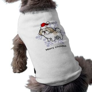 Christmas Shih Tzu (silver parti puppy cut) pet clothing by