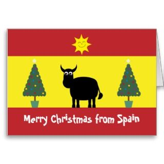 christmas card with funny spanish bull a smiling sun and christmas