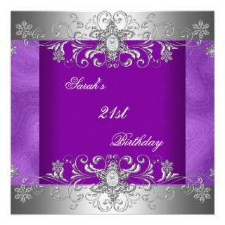 21st Birthday Party Purple Silver Diamond Jewel Invites