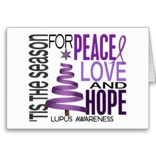 Peace Love Hope Christmas Holiday Lupus Greeting Cards