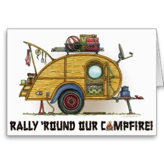 Cute RV Vintage Teardrop Camper Travel Trailer Greeting Cards
