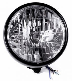 H4 Scheinwerfer Schwarz Klarglas für Harley Davidson Fatboy