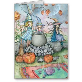 Halloween Card Witch Cat Tea Party Fun