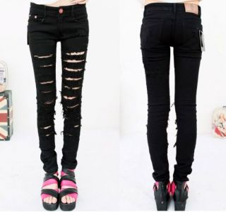 New Fashion Women Black Cut out Punk Ripped Jeans Jeggings Trousers