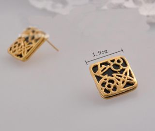 New Fashion retro lovely lucky double deck Hollow out Earrings Stud