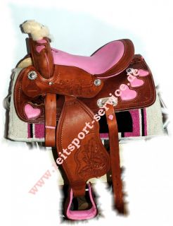 Shetty Pony Westernsattel Leder pinke Muster Kindersattel Ponysattel