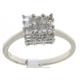 Edler 18 Karat (750) Weißgold Damen   Diamant Ring Baguette Schliff 0